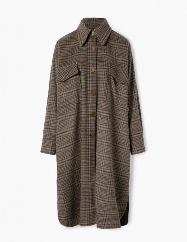 checked coat A LINE clothing